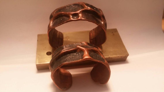 Rustic Air chased copper cuff Bracelets men's women's hammered handmade