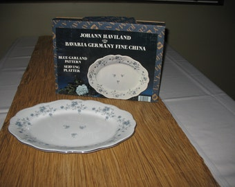 "13"" Oval Serving Platter Johann Haviland Bavaria Germany Fine China with original box, ""Blue Garland"" pattern"