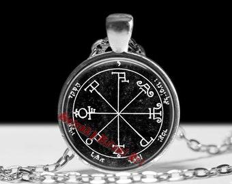 Sixth pentacle of Saturn pendant, occult talisman against enemies, Solomon Seals, ritual necklace, magic jewelry, ceremonial magick #103