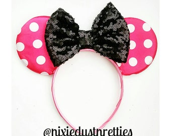 Hot pink and Black minnie Ears