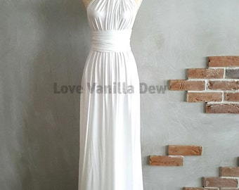 Bridesmaid Dress Infinity Dress White Floor Length Maxi Wrap Convertible Dress Wedding Dress