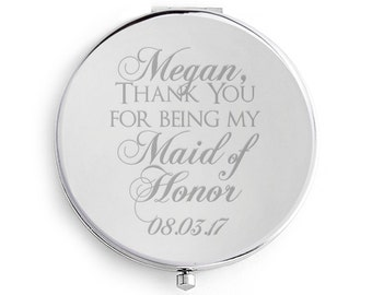 Maid or Matron of Honor Honour Gift Wedding Compact Mirror Personalized