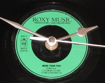 "Roxy Music more than this  7"" vinyl record clock"