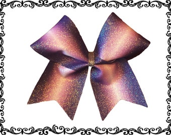 Sublimated glitter one color ombre cheer bow