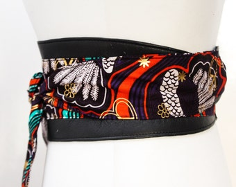 Black African Print Obi Belt | Print Sash Belt | Leather Waist belt | Corset Belt | Wide Waist Belt | Plus size belt | African Print Belt