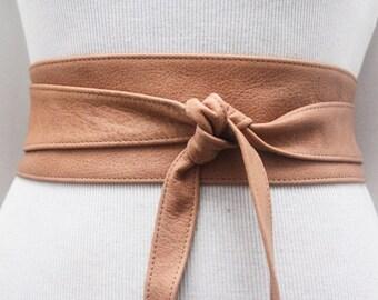 Tan Leather Obi Belt   Obi Belt   Leather belt   Plus Size Accessory   Waist Belt   Sash Belt   Western wedding   Wedding Sash   Tan Belt