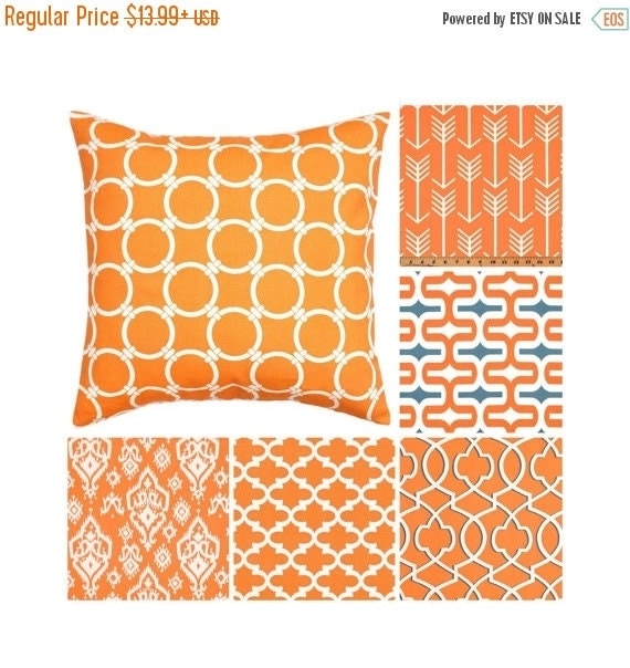 sale orange throw pillow cover orange grey by thedesignertouch. Black Bedroom Furniture Sets. Home Design Ideas