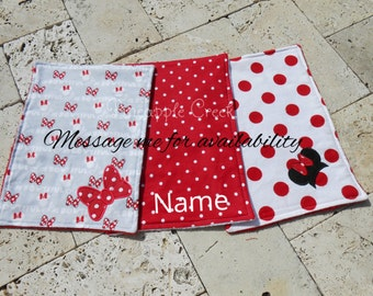 "Minnie Mouse ""I'm Bowtiful"" Burp Cloths FREE MONOGRAM"