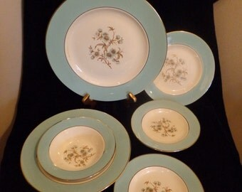 International China Golden Turquoise Assorted China Dishes, Vintage Mid Century 1950s Turquoise China Dishes