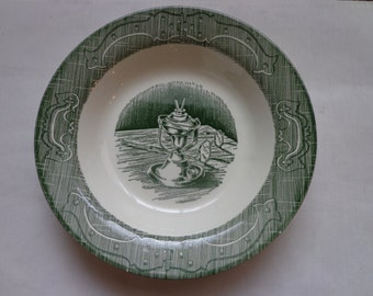 Currier and Ives Old Curiosity Shop Soup or Salad Bowl in Green Transferware China by Royal China