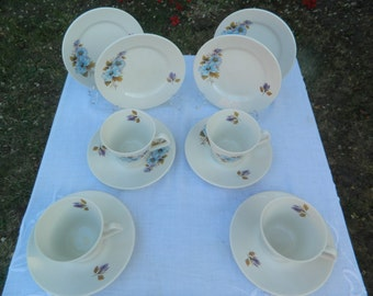 Vintage Lord Nelson (E Cotton - Elijah, Ltd) Floral Blue/Purple Teaset