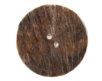 "Palm-Cut 2-Hole Moose Antler Button: 3.0"""