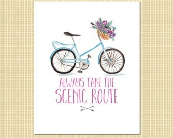 Bicycle & flowers art print