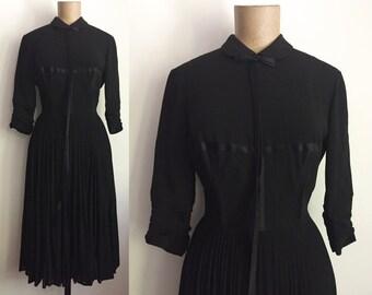40s 50s Black Wool Silk Dress - Vintage Pleated Midi - Caged Corset Ribbon Bodice
