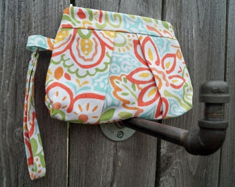 Clutch Bag - Small Purse - Pleated Clutch - Wristlet - Clutch Purse - Bright Flowers - Gift under 40 - Gift Idea for Women