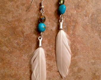 White Feather Bead Earrings