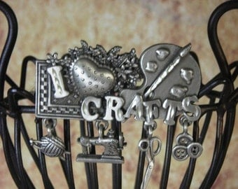 I love Crafts Collage  Brooch Pin  knitting sewing buttons scrapbook painting