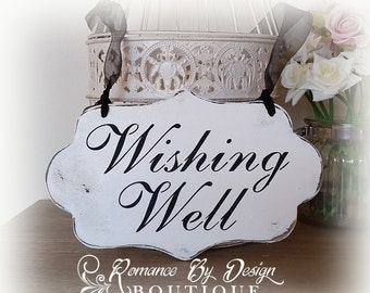Wishing Well  Cottage Chic Shaped Wedding Sign