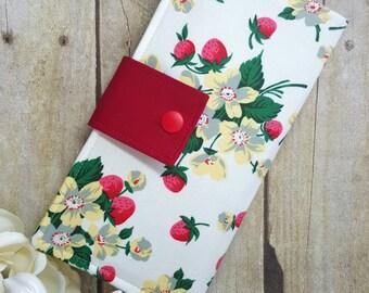 Wild Strawberries Women's Wallet, Handmade Fabric wallet, credit card wallet, checkbook wallet, bifold clutch wallet, womens gift