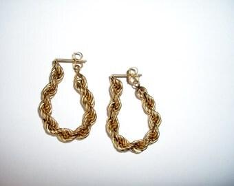 14K Gold Twisted Rope, Flexible Dangling Earrings, Vintage