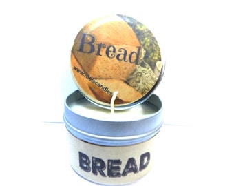 Bread (Fresh Baked) 4 ounce HAND MADE soy tin candle - take it anywhere! Approximate Burn Time 36 Hours