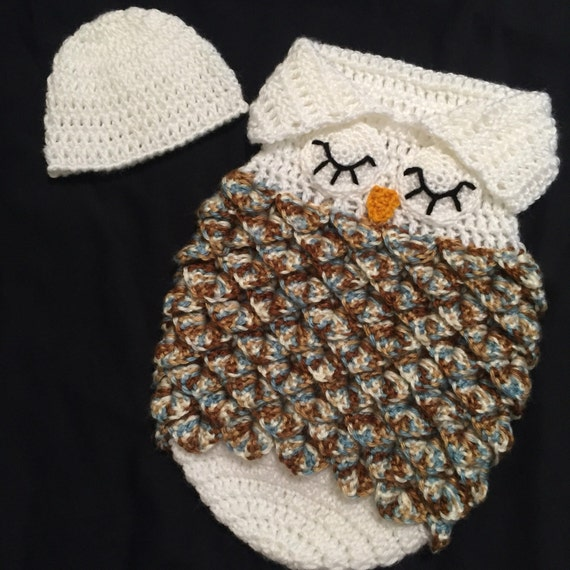 Crochet NEWBORN Owl Sleep Sack / Cocoon / photoprop / blanket ...