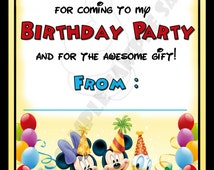 Disney Mickey Mouse & Minnie Mouse Birthday Party Thank You Notes