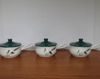 Vintage Denby Greenwheat Covered Casserole Dish - Mid Century Modern Individual Casserole Dishes - Ovenproof Denby Covered Casserole Dishes