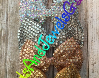 Deluxe 5 inch rhinestone bling diamante hair bow- 1 piece- absolutely gorgeous and shiny in person.Very hard to find