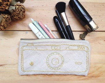 Vintage Camera embroidered pencil-case,Canvas cosmetic pouch,Camera pencil pouch
