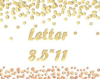 Rose gold confetti border Metallic confetti clipart Gold foil dot clipart Confetti digital border Gold foil confetti PNG letter 8.5x11 inch