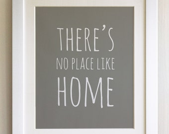 """FRAMED QUOTE PRINT, Theres's no place like Home, Wizard of Oz, Framed or just print, black or white frame, 12""""x10"""", New home gift"""