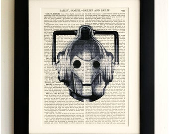 FRAMED ART PRINT on old antique book page - Cyberman, Doctor Who, Upcycled Wall Art Print Encyclopaedia Dictionary Page