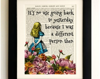 ART PRINT on old antique book page - Alice Quote, Vintage Wall Art Print, Encyclopaedia Dictionary Page