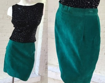 1980s Suede Escale 43 Teal Skirt