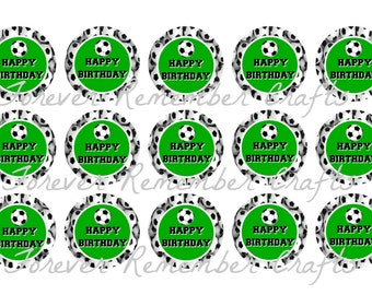 INSTANT DOWNLOAD Soccer Happy Birthday Bottle Cap Image Sheets *Digital Image* 4x6 Sheet With 15 Images