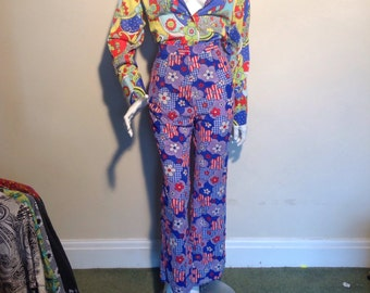 Vintage 1970s original flower power hippy, high waisted trousers/pants.
