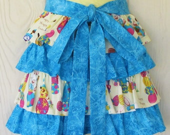 Easter Half Apron, Ruffles, Bunnies, Chicks, Easter Eggs, Easter Baskets, Dragonflies, Waist Apron, READY TO SHIP, KitschNStyle