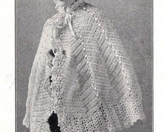 Vintage 1916 Ladies' Charming Crocheted CAPE - PDF / Woolco Manual