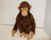 "1940's Steiff Jocko 15"" Monkey Doll. Bear, made in the US Zone Germany, Brown Mohair, Glass Eyes, Adorable"