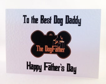Father's Day Card - The Dogfather - Dog Daddy Card - Bone shaped dog tag styled on 'The GodFather'
