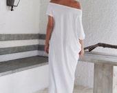White Maxi Dress / White Kaftan / Asymmetric Plus Size Dress / Oversize Loose Dress / #35022