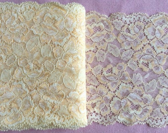 1 meter yellow floral embroidered stretch lace trim scalloped Japan 12.5cm wide