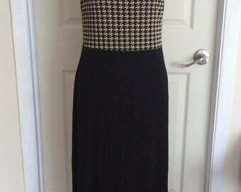 Vintage Long Black and White Dress Houndstooth  Pattern Top Sleeveless Full Skirt Joseph Ribkoff 80s Maxi