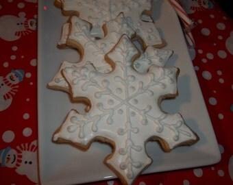 Sugar Cookies - Large Winter Themed Snowflake Sugar Cookies