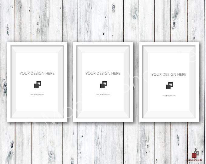 5x7 WHITE FRAME MOCKUP / Set of 3 / Old White Wooden Wall / Frame Mockup /  White Photo Frame Mockup / Instand Download / FrameMockup