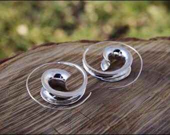 Earrings silver spiral. Spiral hoop earrings. Silver plated. Tribal spiral earrings. Spiral earrings ethnic style.