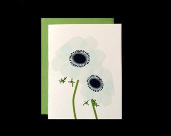 White Anemone - Greeting Card w/ Green Envelopes
