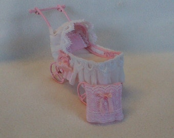 Doll of sweet baby-carriage, dollhouse nursery miniatures1: 12