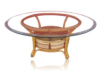 Vvh Vintage Franco Albini Style Rattan Coffee Table Round Pouf Style Cocktail Table Bamboo Mid